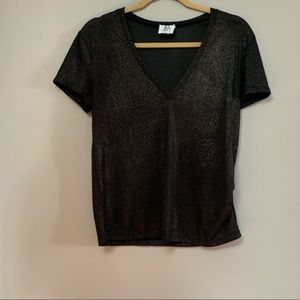 Anthropologie dRA Los Angeles Gold Metallic V Top